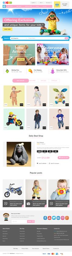 Fiora is best responsive kids #store eCommerce theme. It is fitted with 2 home page layouts which suits for selling kids fashion, toys, kids clothing's, baby belongings and more. #website #template