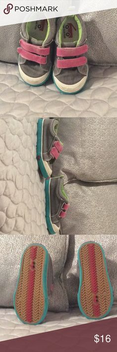 See Kai Run sneakers These sneakers were my daughters favorite but she grew out of this second pair too quickly. The first pair held up for a very long time. The tread, heals and canvas is in really good shape. The toes are lightly scuffed and from the sole view the right foot has an area in the turquoise that's slightly lifting (please see photo). For as quick as kids grow at this age you'll get plenty of use and fun! Please feel free to ask questions. Thank you for viewing! See Kai Run…