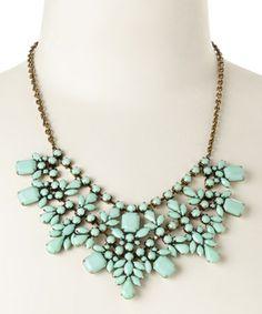 Look what I found on #zulily! Mint & Gold Bib Necklace #zulilyfinds