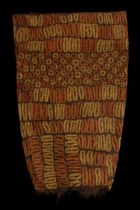 Raffia skirt  Côte d'Ivoire, Dida of tubular form, decorated with fringes, almost completely covered with yellow and orange-red ornaments, min. dam., slight traces of usage  L: 90 cm; B: 55 cm