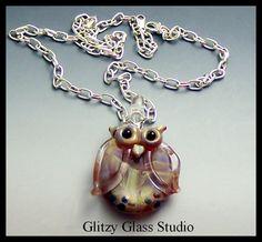 Boro Lampwork Focal Bead Owl Pendant Necklace by DeMarie SRA #handmade #thecraftstar $24.99