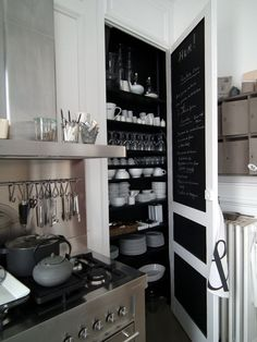 Whoa. Love the black inside this butlers pantry