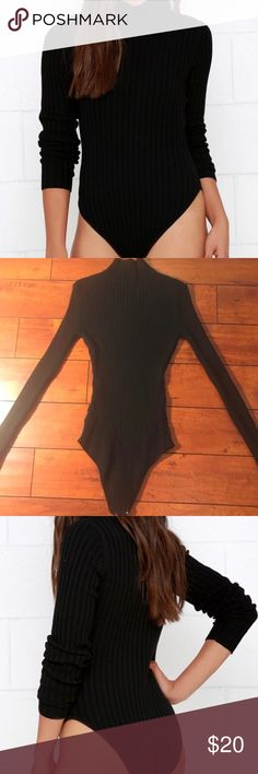 Lulu's Black Ribbed Mock Turtleneck Bodysuit Flattering black bodysuit. Rubbed sweater material with a mock turtleneck. Only worn a couple times. Looks super cute with a skater skirt and some boots or with some high waisted jeans and heels. Lulu's Other