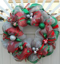 Deco Mesh Christmas Wreath - Silver Red Green Deco Mesh Wreath - Holiday Wreath - Xmas wreath - Traditional Christmas Decor
