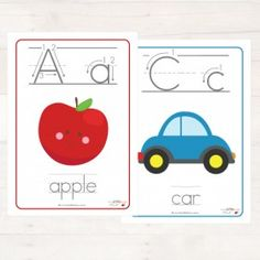 "Display the Alphabet in your child's room or day care with our printable sized ""Alphabet Wall Chart"". You will receive 26 sized brightly coloured alphabet cards, ready to print, laminate and display in your room! Alphabet Wall, Alphabet Cards, Classroom Labels, Classroom Decor, Abc Education, Abc Nursery, Toy Labels, English Activities, Preschool Letters"