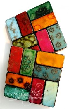 Altered Dominos - Coasters by jacqueline - Cards and Paper Crafts at Splitcoaststampers Tile Crafts, Resin Crafts, Fun Crafts, Diy And Crafts, Arts And Crafts, Paper Crafts, Alcohol Ink Crafts, Alcohol Ink Painting, Alcohol Ink Art