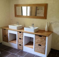 salle de bain récup | Ideas For, Bain Siporex, Bathroom Furniture, De Bains, Sall De Bain ...