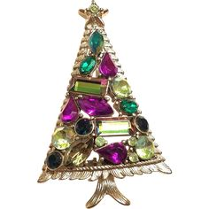 Vintage Christmas Ree Pin Brooch - Hollycraft Multi Rhinestone Christmas Tree Brooch