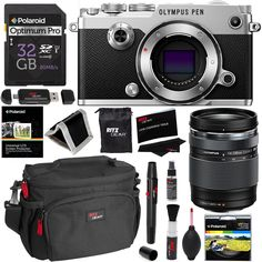 Olympus PEN-F Body Only Silver Camera   14-150mm Lens   32GB Memory Card   Polaroid 58mm UV Filter   Ritz Gear Cleaning Kit, Camera Case, OTG USB Card Reader, Screen Protector