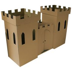 Cardboard Castle Playhouse by Kid-Eco Cardboard Toys -Wood Thats Good Cardboard Box Castle, Castle Playhouse, Cardboard Playhouse, Cardboard Crafts, Cardboard Furniture, Cardboard Animals, Playhouse Plans, Cardboard Paper, Chateau Fort Moyen Age