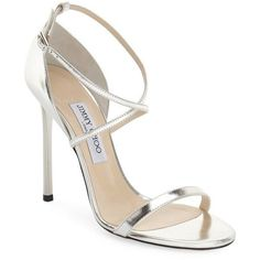 Jimmy Choo 'Hesper' Ankle Strap Sandal ($795) ❤ liked on Polyvore featuring shoes, sandals, heels, silver mirror leather, leather ankle strap sandals, ankle tie sandals, stiletto sandals, leather shoes and high heel stilettos