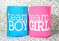 Baby Announcement to Husband! Pick a Team we are having a Baby!!!!  Team Boy Team Girl Gender Reveal Koozies.  Baby Reveal Party Ideas, Baby Reveal Gifts, Favors, Momentos, Announcements, Surprise Baby Announcement, Family Baby Announcement Ideas, Team BOY Team GIRL Gender Reveal Koozie. by MagicCityDesigns