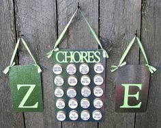 This is a BRILLIANT idea!!  Make magnet boards w/ each kids letter initial & then a central chore board w/ magnets of a chore & the allowance amount.  When a kid has completed the chore they move it to their board.  They determine their allowance!