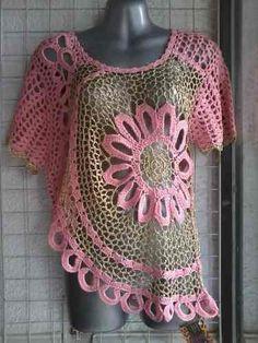 Blusa Flor Tejida Moda Crochet Gancho
