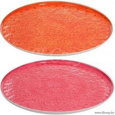 J-Line Plat Rond Bloem Metaal Oranje-Roze L Assortiment van 2 stuks. Jline-by-Jolipa-72041