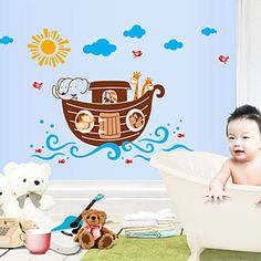 The Fashion Seller-Cartoon Animals Ship PVC Wall Stickers Wall Art Decals >>> Awesome deals : Nursery Decor