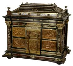 Antique Neoclassical Ebonized Jewelry Cabinet with Tortoise Shell, Enamel & Repousse Silver Mounts