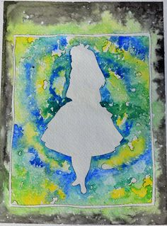 Alice in Wonderland Silhouette - Disney Inspired Hand Painted Watercolor by Violet Knight Designs.