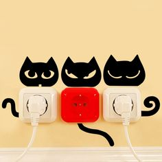 4 styles Black Funny cats Eye Tail switch stickers cats animal home decor wall sticker funny for kitchen light socket