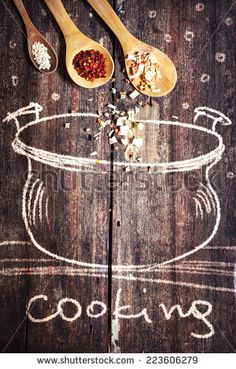 Rural vintage wood kitchen table with drawing bowl and spices for cooking/ cooking idea concept