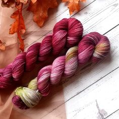 Welcome fall with my two newest colors: Hearthside & Autumn Blaze. Available dyed-to-order on your favorite Yarn Love yarn. Click the link in my profile to shop these colors!