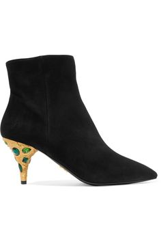 Heel measures approximately 75mm/ 3 inches Black suede (Goat) Concealed zip fastening along side Made in Italy