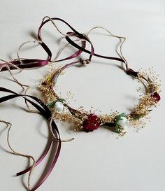 Flower crown Flower burgundy crown Winter wedding Navy bridal pieces Wedding crown