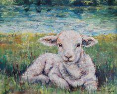 The Lamb original painting on canvas, custom oil, resting sheep, Jesus Christ religious symbolic art Watercolor Animals, Watercolor Art, Sheep Paintings, Original Paintings, Original Art, Lion And Lamb, Symbolic Art, Sheep Art, Religious Art