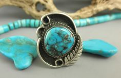 Absolutely gorgeous Dead Pawn Blue Morenci Turquoise Navajo Prayer Feather Ring