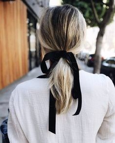Low Ponytail with Black Ribbon
