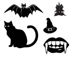 Halloween; Halloween items (Bat, Dracula mouth, Cat....) as Silhouette Template, stencil, sjsbloon by KLDezign SVG