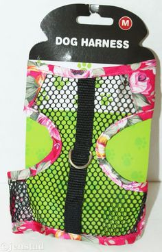 """DOG GENERIC VEST FLOWER & MESH PINK HARNESS FOR SMALL MEDIUM DOGS 10""""-16"""" NEW #Unbranded"""
