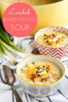 Loaded Baked Potato Soup -- filled with cheddar cheese, bacon, green onions, and sour cream, this simple baked potato soup recipe is full of flavor and can be ready to serve in under 30 minutes!