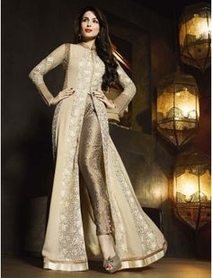 Beige Malaika Arora Khan Bollywood Salwar Kameez