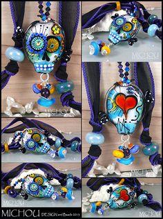 Dia De Los Muertos -  Glamour Scull  - Art Glass Pendant  by Michou Art Glass Pendant  by Michou