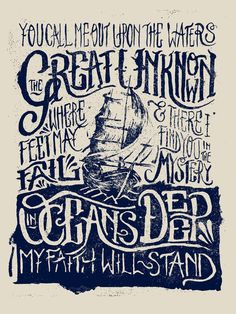 You call me out upon the waters / The great unknown where feet may fail / And there I find You in the mystery / In oceans deep / My faith will stand