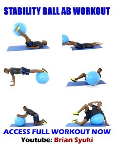 Gym Workout Videos, Gym Workout Tips, Fitness Workout For Women, Mens Fitness, At Home Workouts, Ab Workouts For Men, Ab Exercises For Women, Man Workout, Stability Ball Exercises