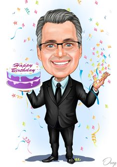 Happy Birthday Man Cartoon A man is wearing a black suit and standing with a double birthday c 40th Birthday Quotes, Birthday Gag Gifts, Happy Birthday Cupcakes, Happy Birthday Sister, Happy Birthday Parties, Happy Birthday Greetings, Man Birthday, Birthday Wishes, Birthday Cakes