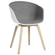 About a chair Padded armchair White Shell / Internal face : Light Grey fabric by Hay - Design furniture and decoration with Made in Design Chaise Hay, Hay Chair, Desk Chair, Colorful Chairs, Colorful Furniture, Contemporary Furniture, Modern Contemporary, Old Chairs, Dining Chairs