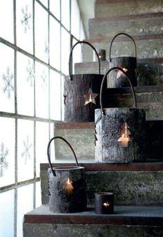 Lanterne natalizie - Lanterne di corteccia