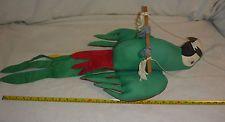 "VTG Hanging 29"" GREEN MACAW- HandMade Cloth Sculpture - El Salvador - VERY NICE"