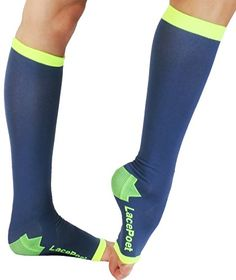Lace Poet KneeHigh YogaSleep Compression Toeless Socks Blue and Neon Yellow >>> Learn more by visiting the image link.