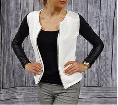 Long Sleeve Stylish Patchwork Baseball Women Jacket