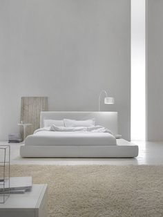 Contemporary minimalist interior white bedroom in Architecture & Interior design.