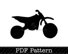 Dirt Bike Applique Pattern, PDF Template, Motocross, Motorbike Designs | AngelLeaDesigns - Craft Supplies on ArtFire
