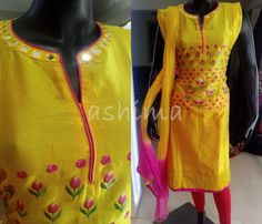 Code:2609163 - Salwar Suit In chanderi Silk With Embroidery and Mirror Work, Price INR:2720/-