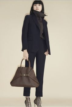 8613-00 20197-074 Navy and Mahogany cool wool striped jacket 8130-00 94137-094 Mahogany cotton zip turtleneck blouse 8225-60 20197-074 Navy and Mahogany cool wool striped cuffed crop pant 1016-MS 4367-143 Ai Medium shoulder bag in Mahogany braided leather Vogue Paris, Vogue Mexico, Vogue Australia, Vogue Russia, Fashion Show Collection, Winter Collection, Mannequins, Phillip Lim, Couture Fashion