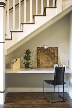 An office nook sits in the home's main living area adjace... Kee Sites