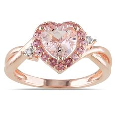 Morganite Pink Tourmaline and Diamond-Accent Pink Rhodium-Plated Sterling Silver Heart Ring, Women's, Size: 5 Ring Set, Ring Verlobung, Heart Jewelry, Fine Jewelry, Jewelry Rings, Jewellery, Bijoux Art Nouveau, Heart Shaped Rings, Heart Rings