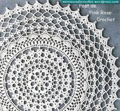 Вязаные салфетки крючком схемы Великолепная салфетка Pink Rose crochet/